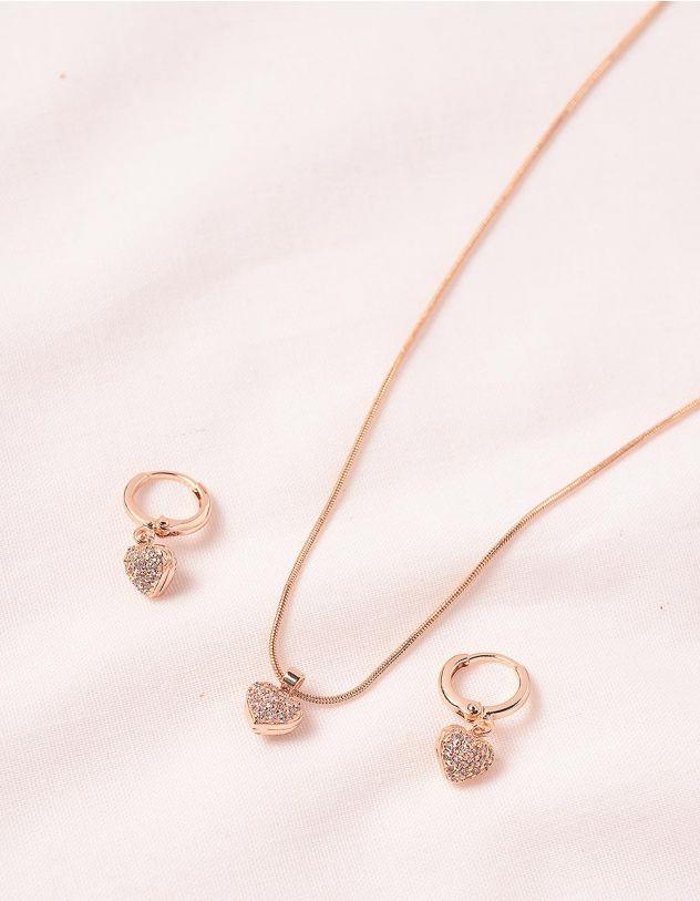 Комплект із сережок та підвіски з кулонами у вигляді сердець | 245358-08-XX - A-SHOP