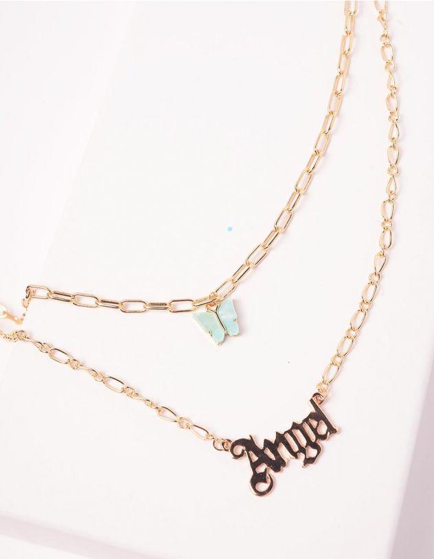Підвіска із ланцюжків з метеликом та написом Angel | 243830-04-XX - A-SHOP
