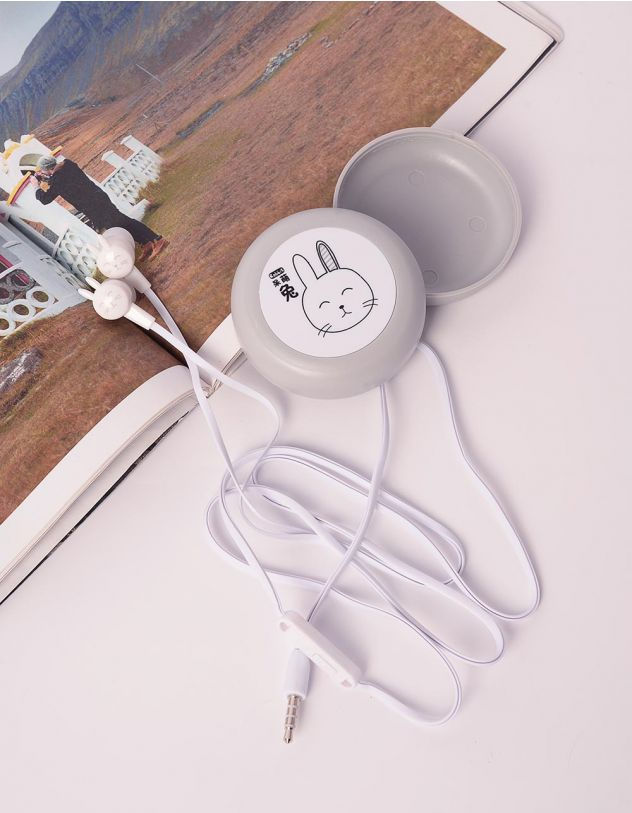 Навушники з принтом кролика  на чохлі | 238935-11-XX - A-SHOP