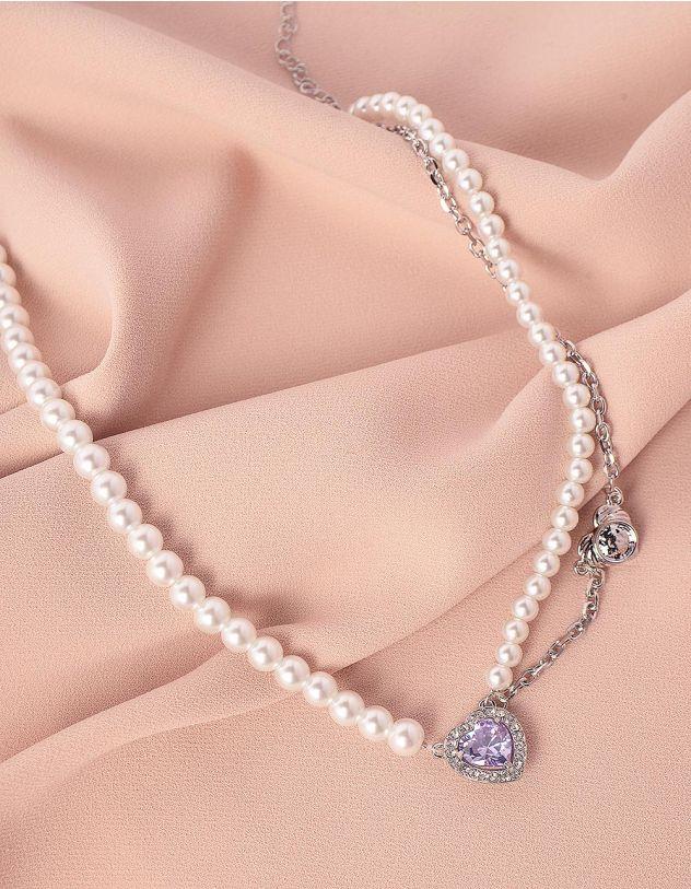 Чокер на шию із перлин з кулоном у вигляді серця | 245619-06-XX - A-SHOP