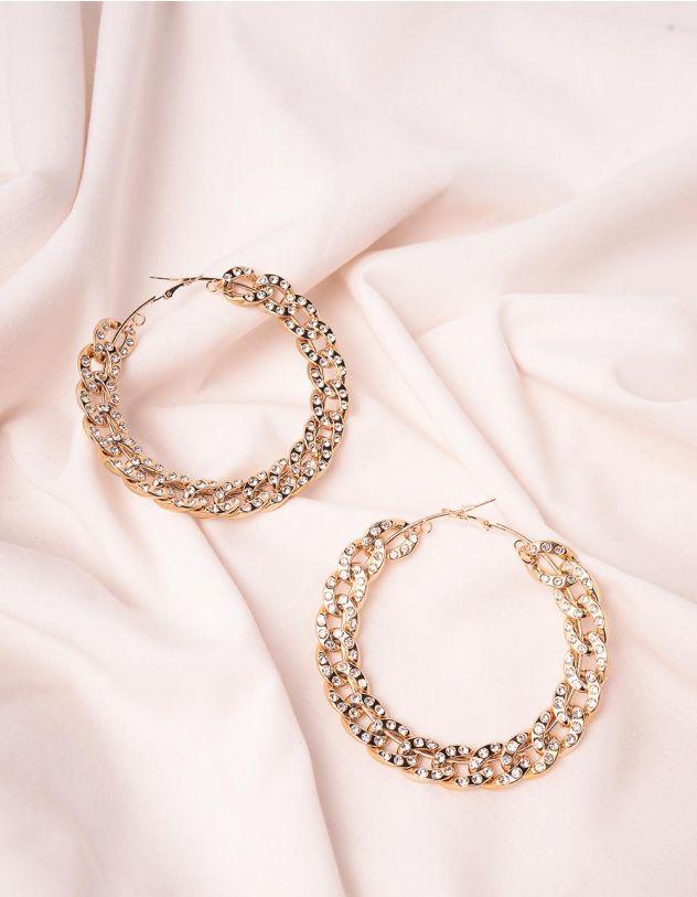 Сережки кільця у вигляді ланцюжків зі стразами   246281-08-XX - A-SHOP