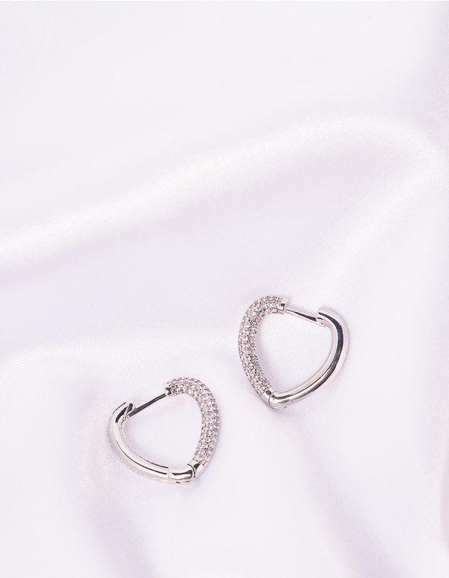 Сережки у вигляді сердечок інкрустовані стразами | 243849-06-XX - A-SHOP