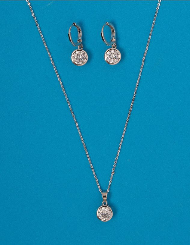 Комплект із підвіски та сережок з камінцями | 228475-06-XX - A-SHOP