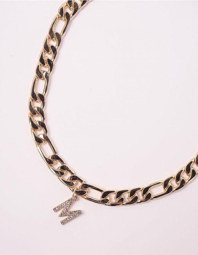 Підвіска на шию ланцюг з кулоном у вигляді літери М | 245960-08-XX - A-SHOP