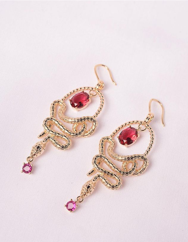 Сережки у вигляді змій інкрустовані камінням | 247691-55-XX - A-SHOP