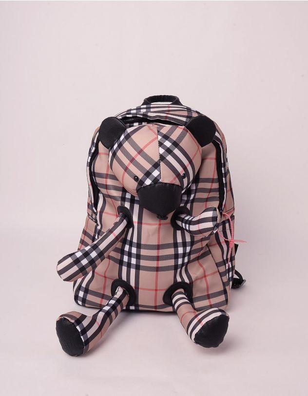 Рюкзак для прогулянок у клітинку з ведмедиком | 246634-39-XX - A-SHOP