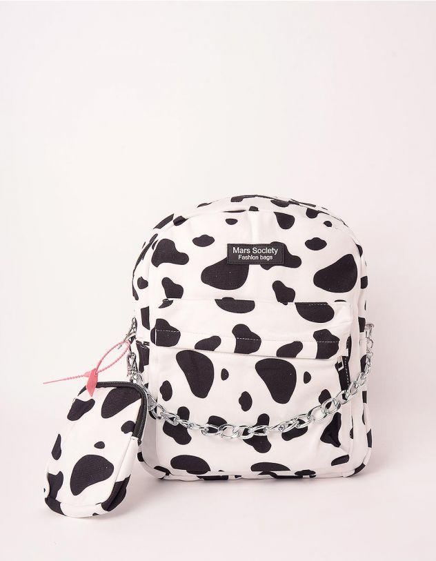 Рюкзак з принтом тварини з монетницею на ланцюжку | 248982-01-XX - A-SHOP