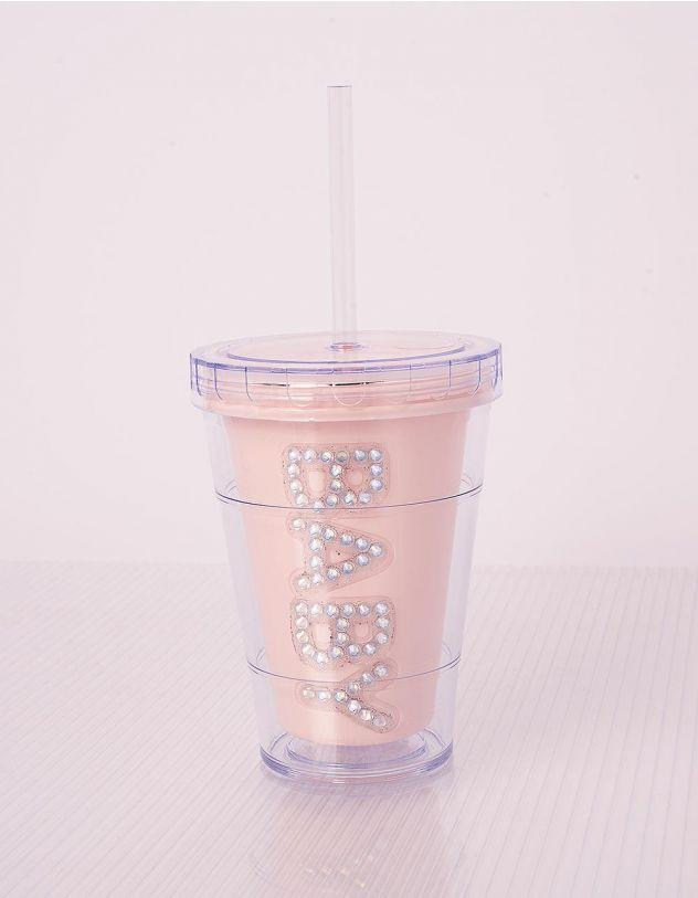Склянка з трубочкою та написом зі стразів   240704-22-XX