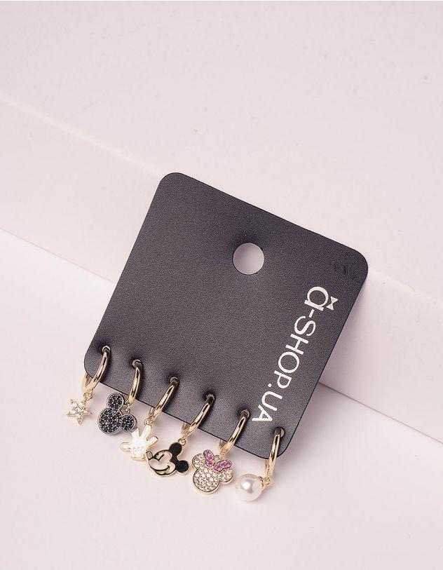 Сережки у наборі з кулонами у вигляді Міккі Мауса | 246168-04-XX - A-SHOP