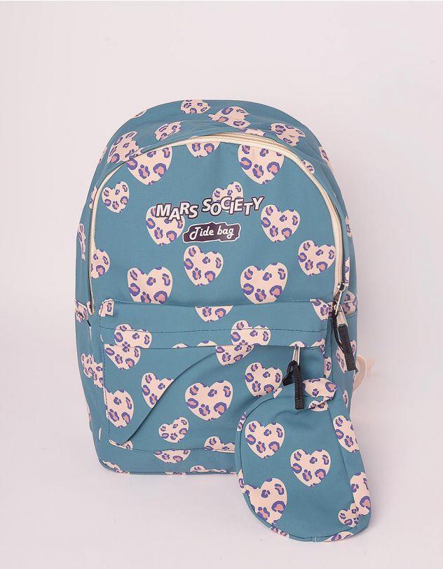 Рюкзак для міста з принтом леопардових сердець | 249125-25-XX - A-SHOP