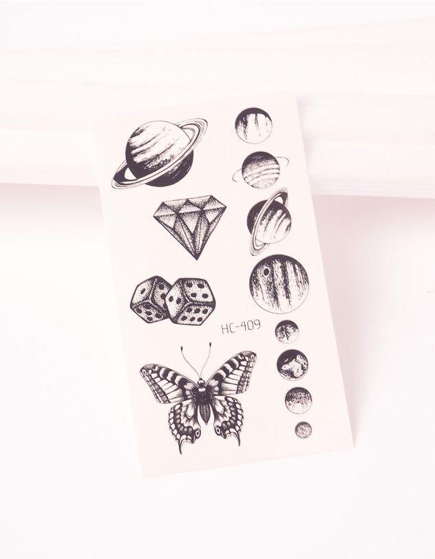 Тату тимчасове у вигляді планет та метелика | 243325-02-XX - A-SHOP