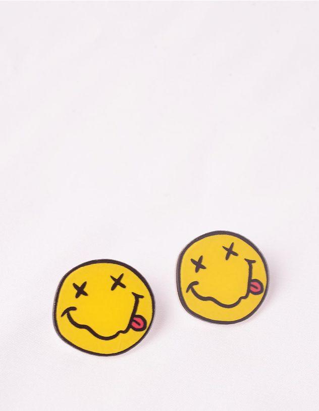 Сережки з гвіздочками із зображенням смайлика | 249096-19-XX - A-SHOP