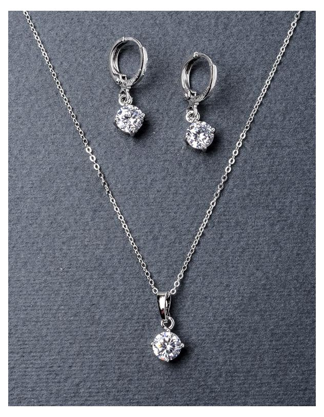 Комплект з сережок та підвіски з камінням | 221421-06-XX - A-SHOP
