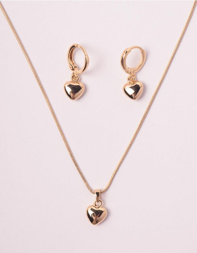 Комплект із підвіски та сережок з підвісками у вигляді сердець | 248830-04-XX - A-SHOP