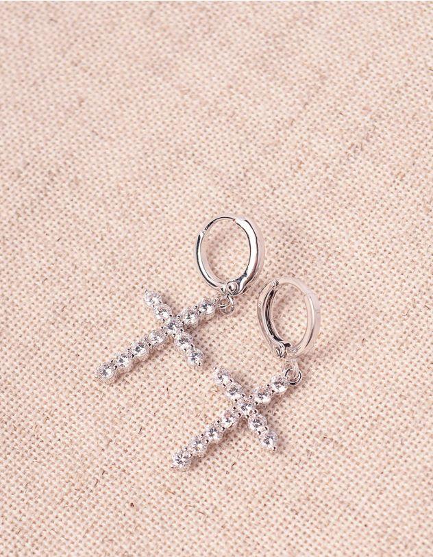 Сережки маленькі з хрестиками у стразах   244959-06-XX - A-SHOP