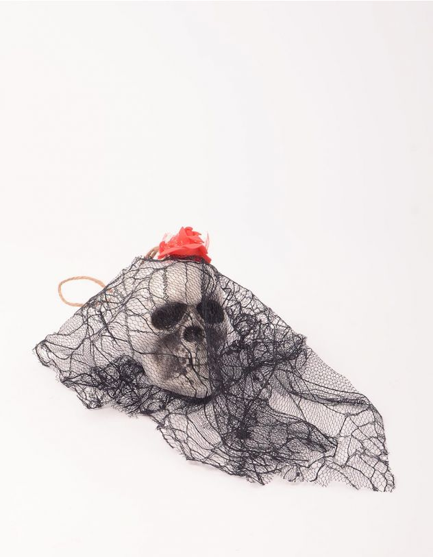 Декор на хеллоуїн у вигляді черепа з фатою   248753-02-XX - A-SHOP