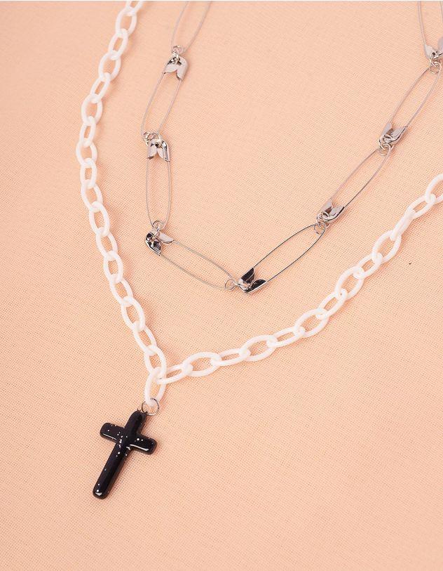 Підвіска на шию із булавок та ланцюжка з хрестиком | 244245-06-XX - A-SHOP