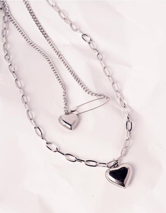 Підвіска на шию подвійна із ланцюжків з кулонами у вигляді серця | 240417-05-XX - A-SHOP