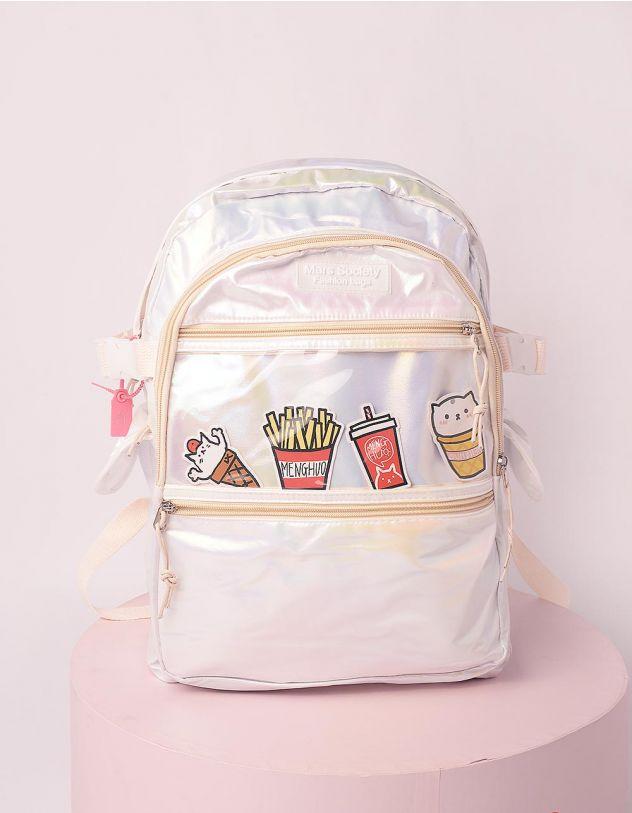 Рюкзак для міста голографічний із зображенням фаст фуду | 246022-01-XX - A-SHOP