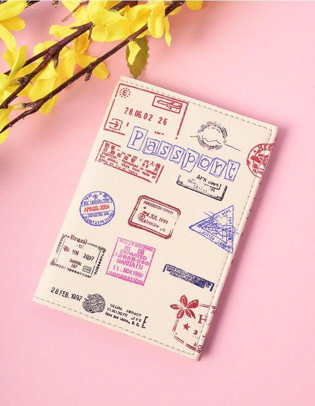 Обкладинка на паспорт з принтом штампів | 201209-21-XX