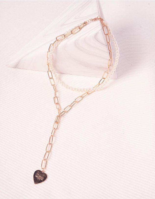 Підвіска на шию із ланцюжка та перлин з кулоном у вигляді серця | 245376-08-XX - A-SHOP