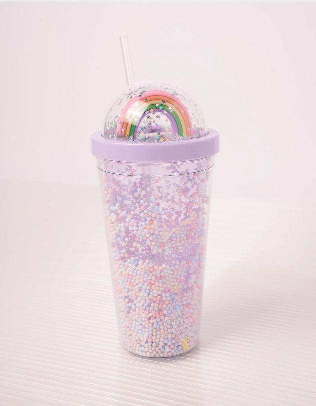 Склянка на 550мл з веселкою на кришці та кульками | 243678-03-XX - A-SHOP