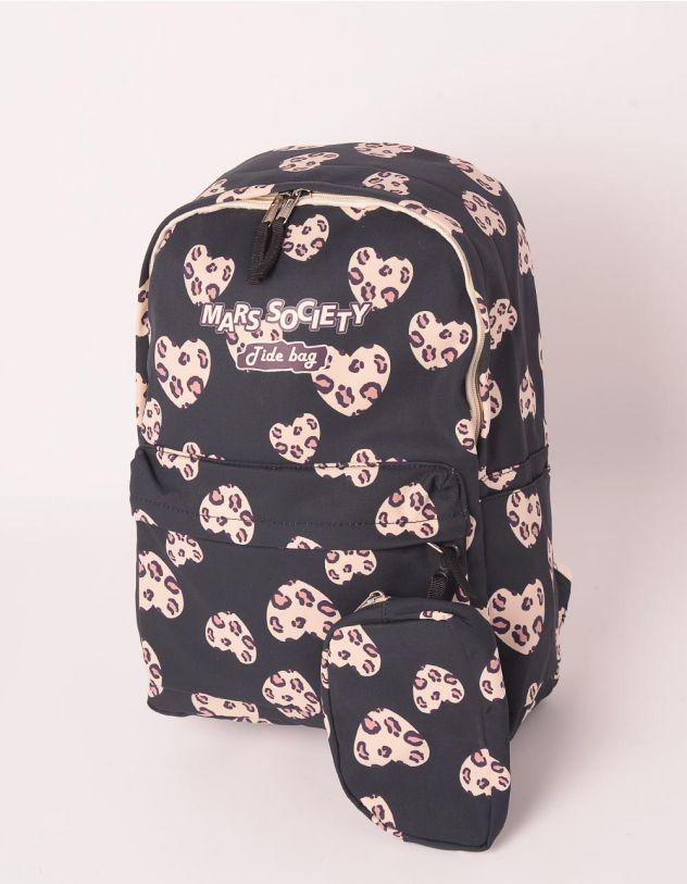 Рюкзак для міста з принтом леопардових сердець | 249125-02-XX - A-SHOP
