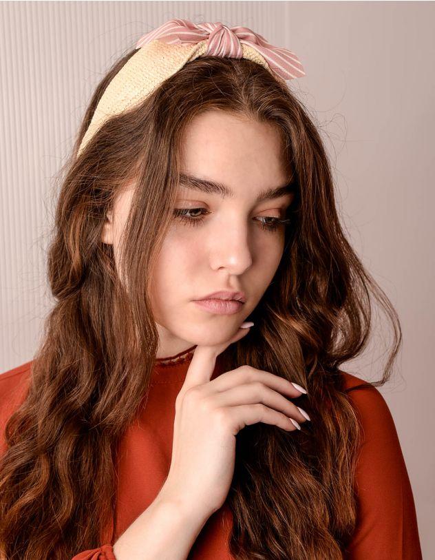 Обідок для волосся з бантом у смужку | 241339-71-XX - A-SHOP