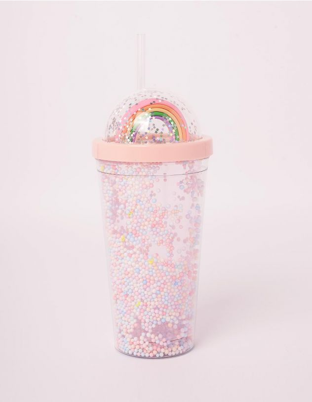 Склянка на 550мл з веселкою на кришці та кульками | 243678-14-XX - A-SHOP