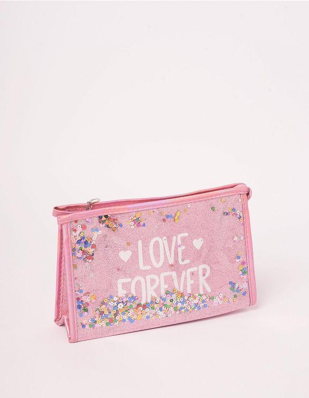 Косметичка з паєтками та написом love forever | 243601-14-XX - A-SHOP