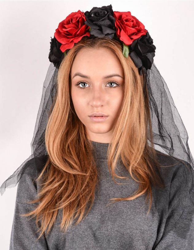 Обідок для волосся з фатою та трояндами | 243304-02-XX - A-SHOP