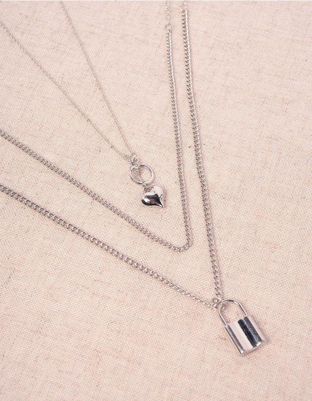 Підвіска на шию багатошарова з кулоном у вигляді серця та замка | 244474-05-XX - A-SHOP
