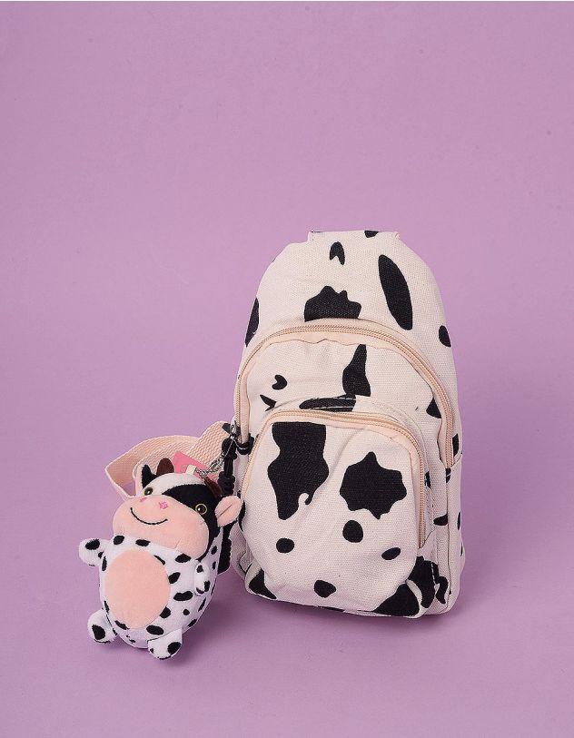 Рюкзак для прогулянок з плямами та брелоком у вигляді корівки | 244060-01-XX - A-SHOP