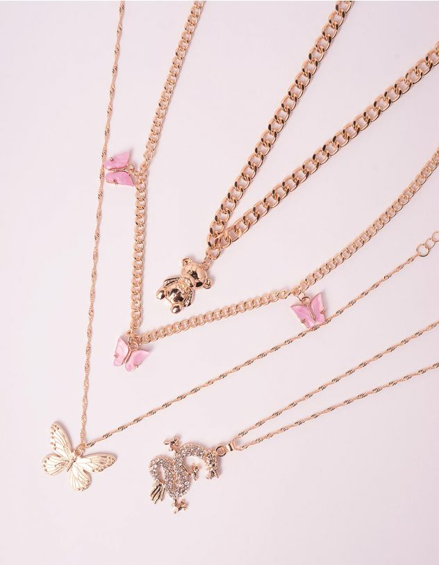 Підвіска на шию у наборі з кулоном у вигляді ведмедика та метеликів | 246095-04-XX - A-SHOP