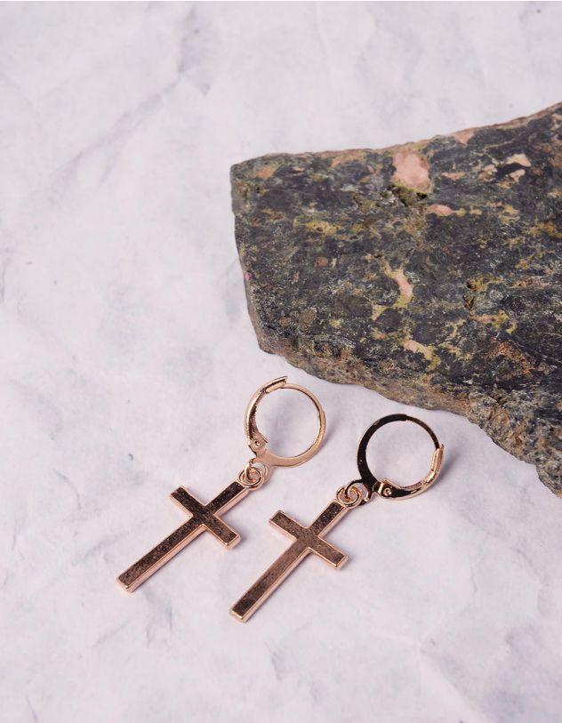 Сережки кільця з хрестиками | 239796-04-XX - A-SHOP