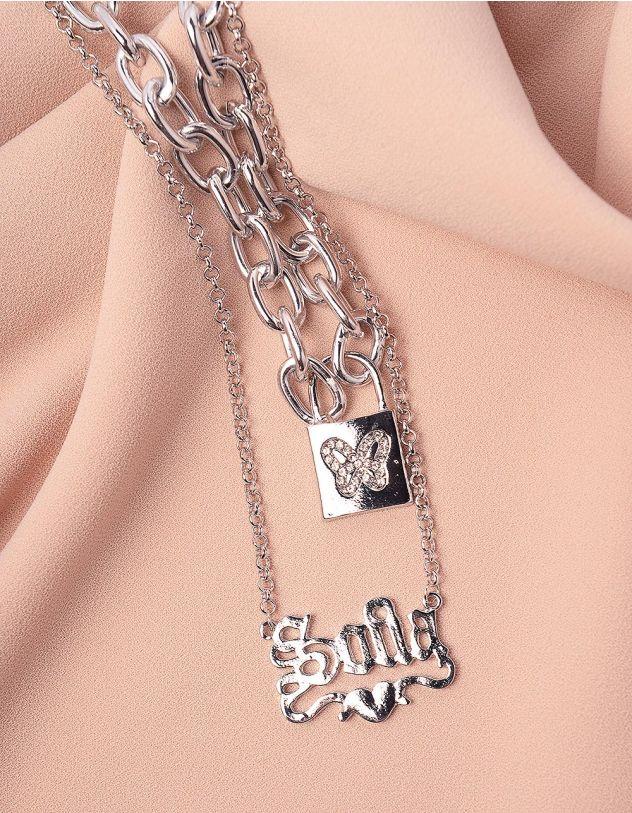 Підвіска на шию  багатошарова із ланцюга з метеликом на кулоні | 243834-06-XX - A-SHOP
