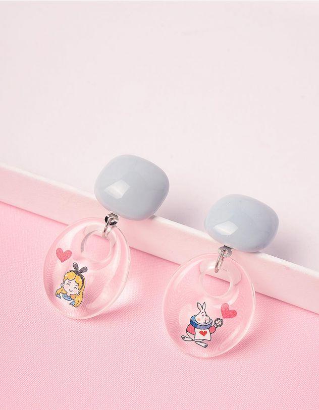 Сережки прозорі з принтом дівчинки та кролика | 249104-18-XX - A-SHOP