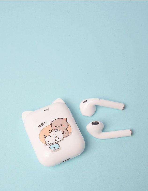 Навушники бездротові з принтом котика на чохлі   248705-01-XX - A-SHOP