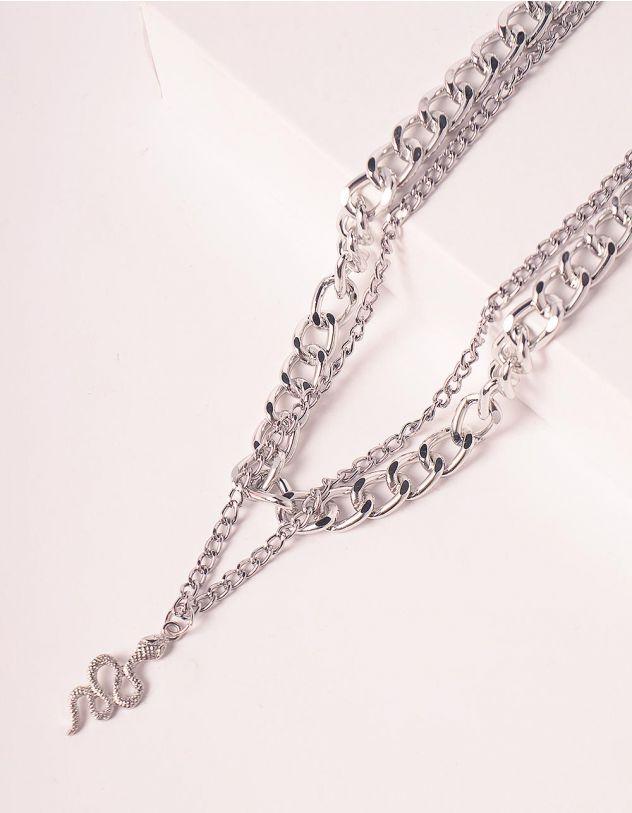 Підвіска на шию із ланцюга багатошарова з кулоном у вигляді змії | 248714-05-XX - A-SHOP