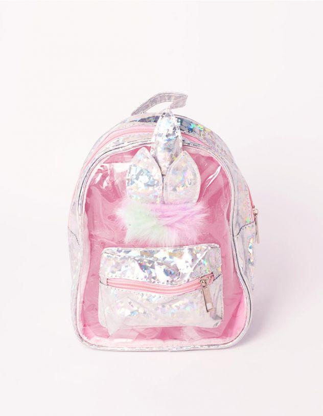 Рюкзак прозорий голографічний з вушками  та хутром | 239192-05-XX - A-SHOP