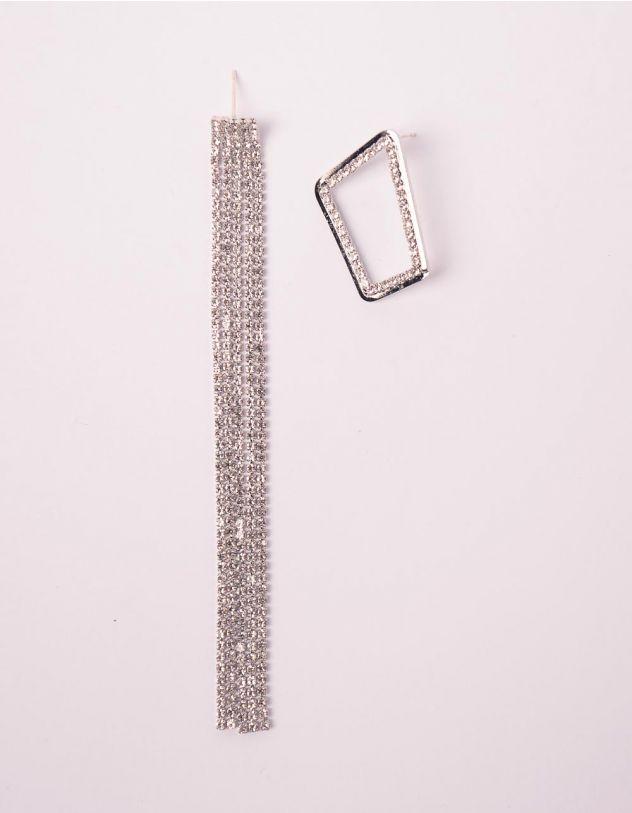Сережки подовжені зі стразами | 246118-06-XX - A-SHOP