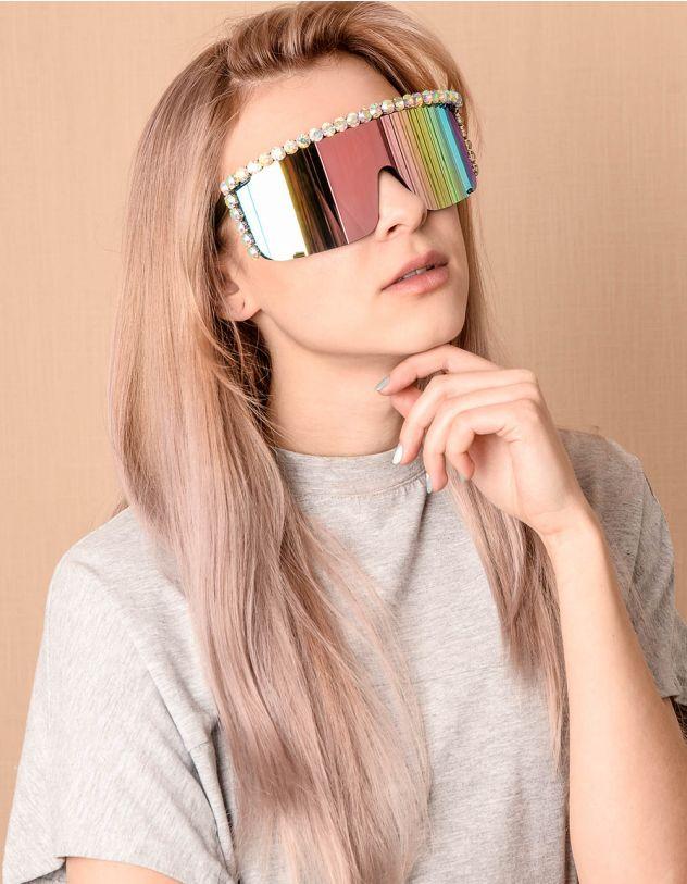 Окуляри маска дзеркальні з камінцями | 239835-21-XX