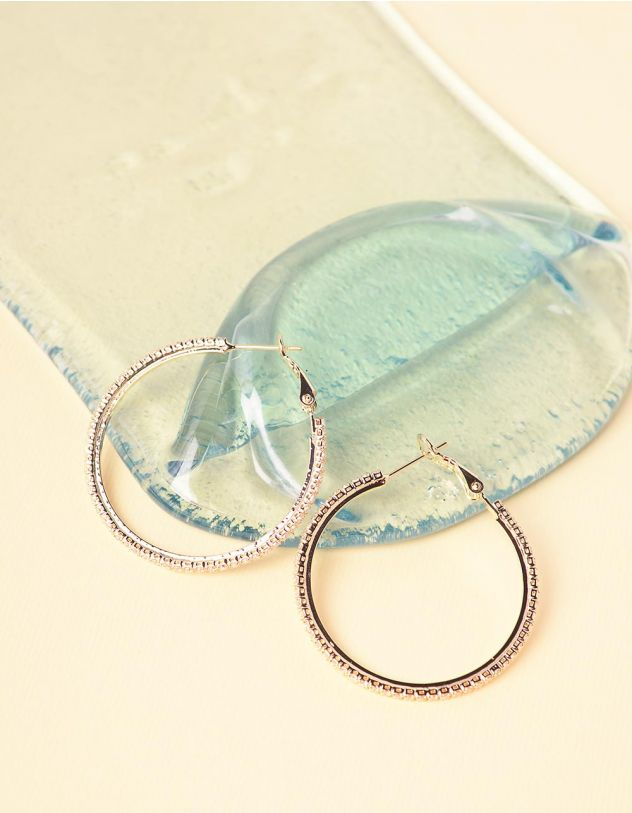 Сережки кільця великі декоровані стразами | 241864-08-XX - A-SHOP