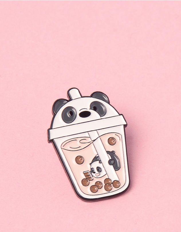 Брошка у вигляді склянки із зображенням панди | 249270-02-XX - A-SHOP