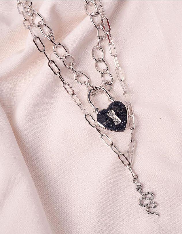 Підвіска на шию із ланцюжка з кулоном у вигляді змії та серця | 246078-05-XX - A-SHOP
