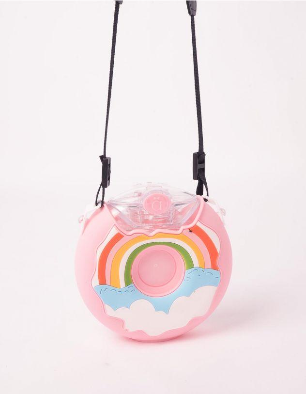 Пляшечка у вигляді тістечка  на 380мл з ремінцем та принтом веселки | 246396-14-XX - A-SHOP