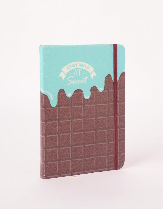 Блокнот у лінію з принтом шоколадки | 245419-18-XX - A-SHOP