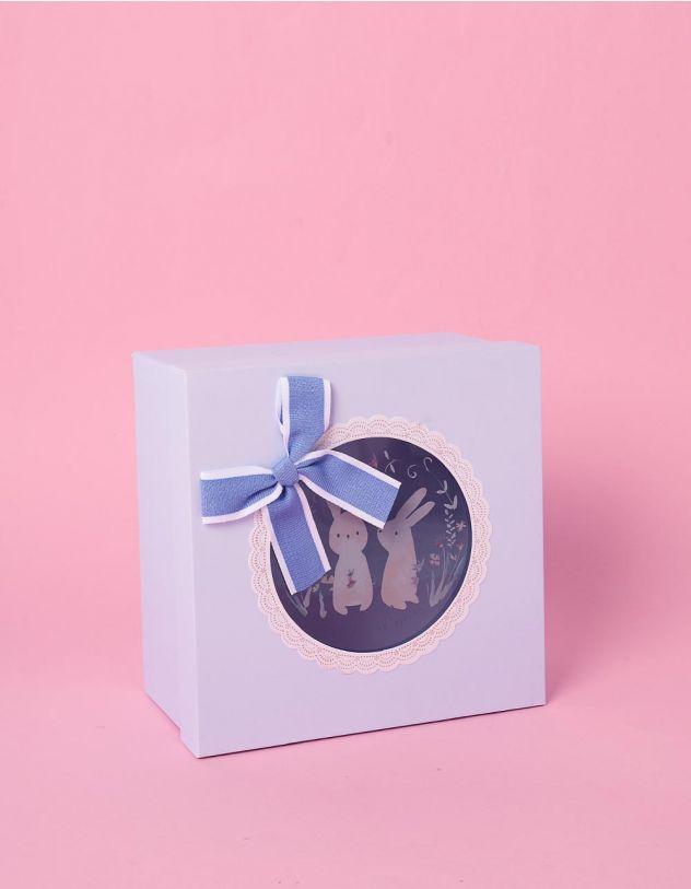 Коробка подарункова з бантом та принтом зайців | 241176-18-XX