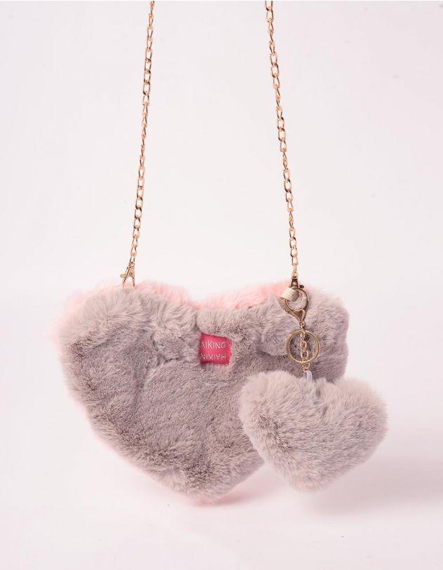 Сумка на ланцюжку хутряна у вигляді серця | 245794-11-XX - A-SHOP