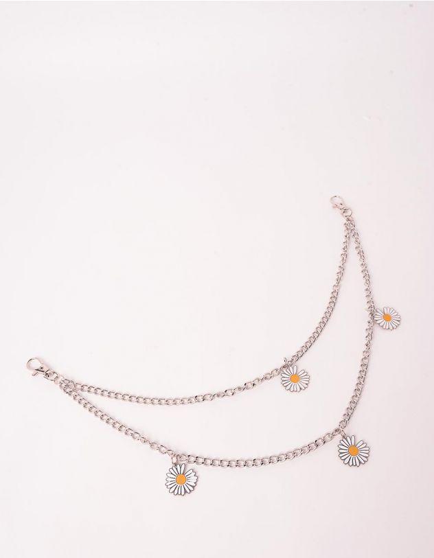 Ланцюжок на одяг подвійний з ромашками | 244390-05-XX - A-SHOP